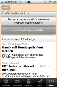 Tickerkonfiguration der FTD App